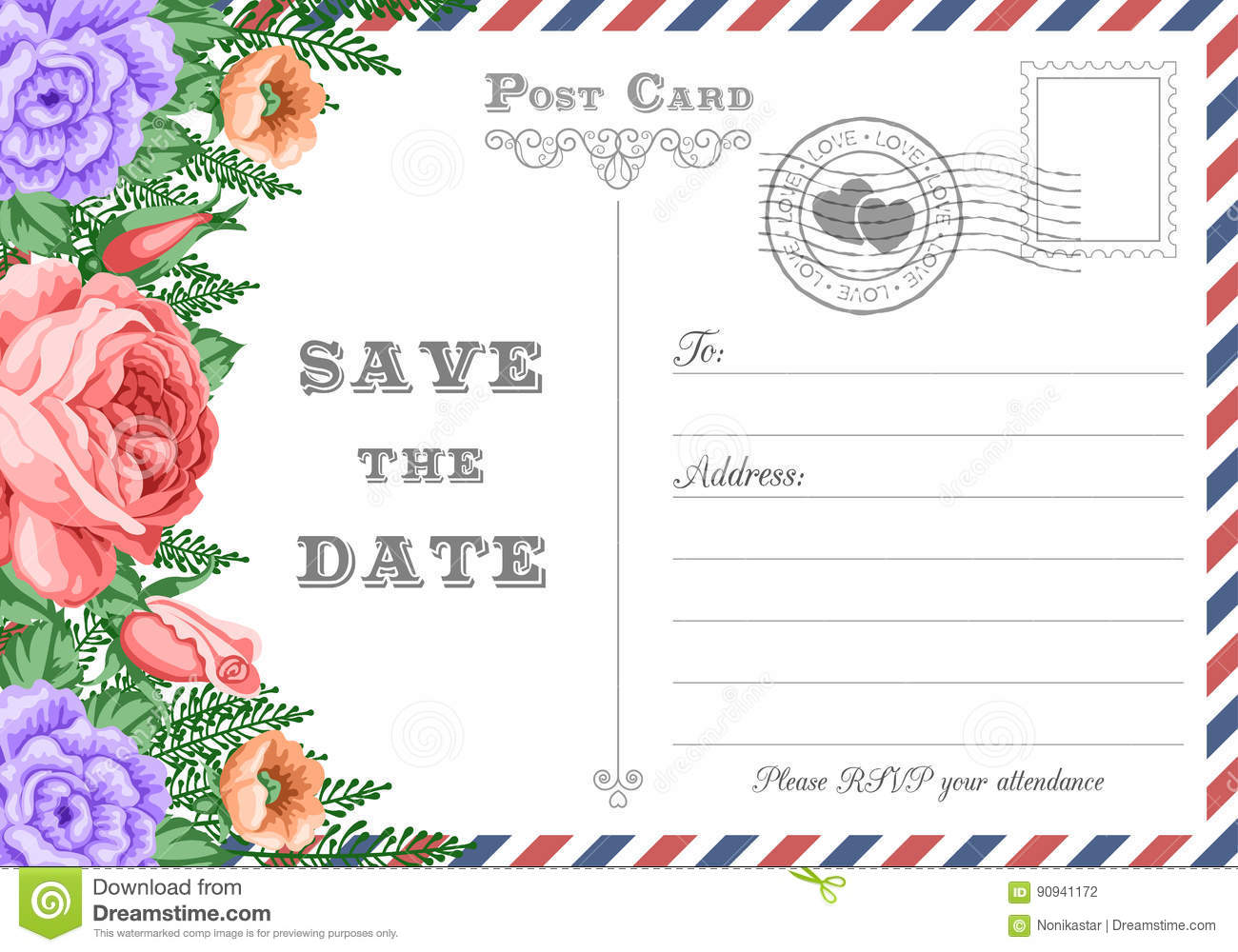 Postcard Save the Date stock vector. Illustration of floral - 90941172