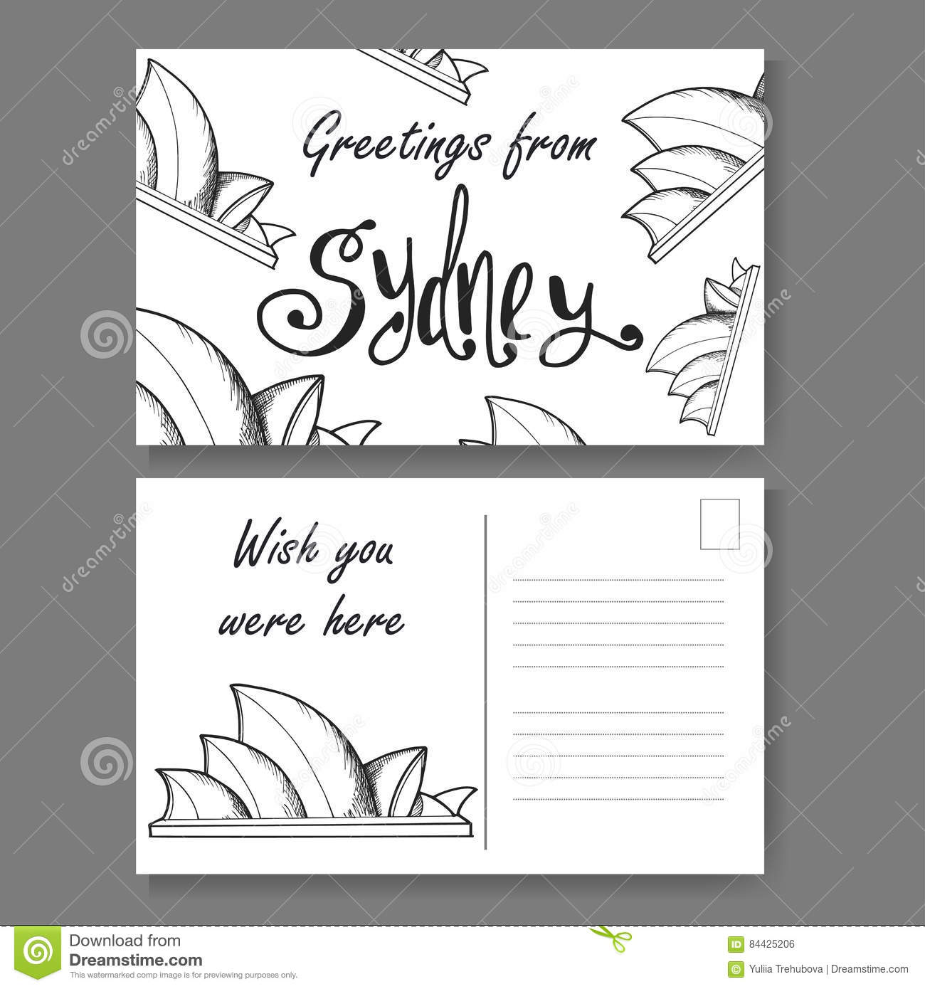 Postcard From Sydney Hand Drawn Lettering And Sketch Greetings