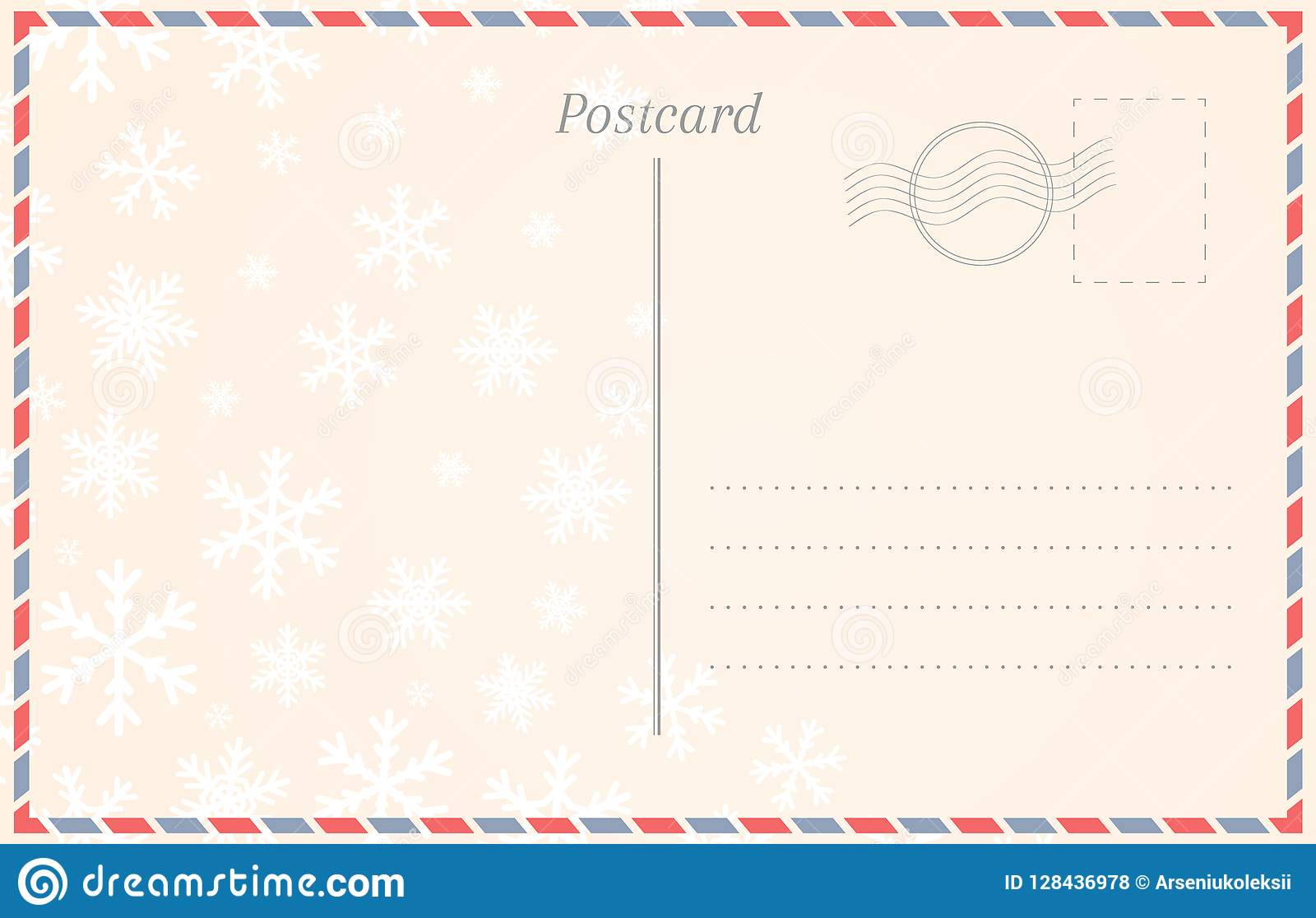 Postcard template with snowflakes for winter holidays and.