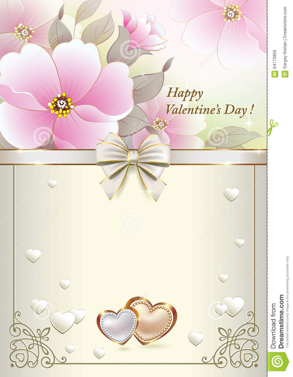 Postcard To Valentines Day With Pink Flowers And Hearts Stock