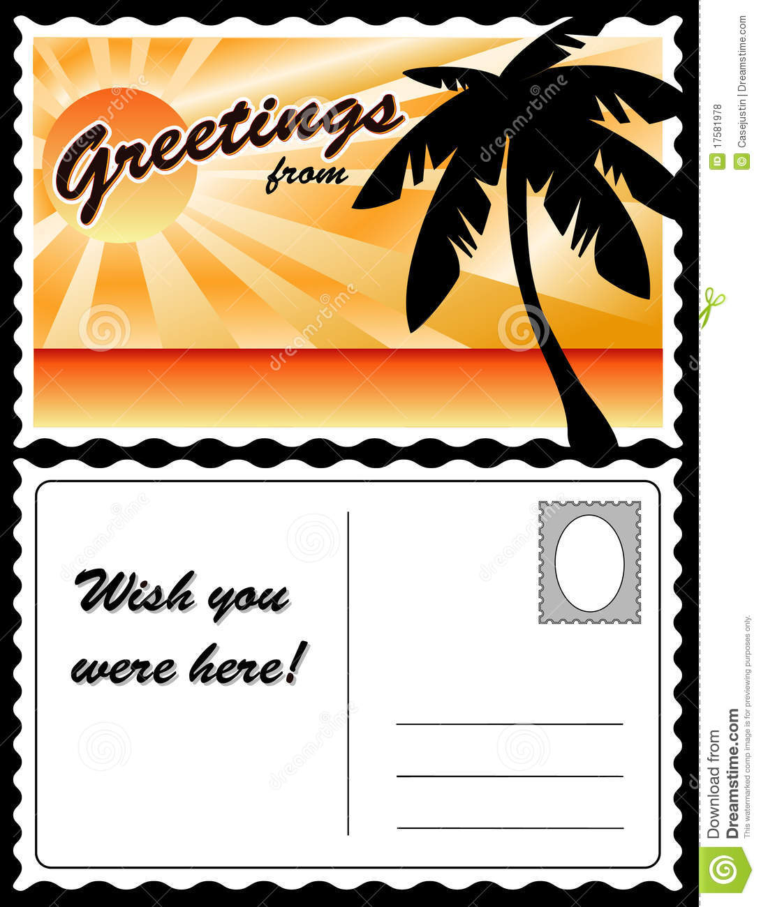 Postcard, Tropical Landscape Stock Vector - Illustration ...
