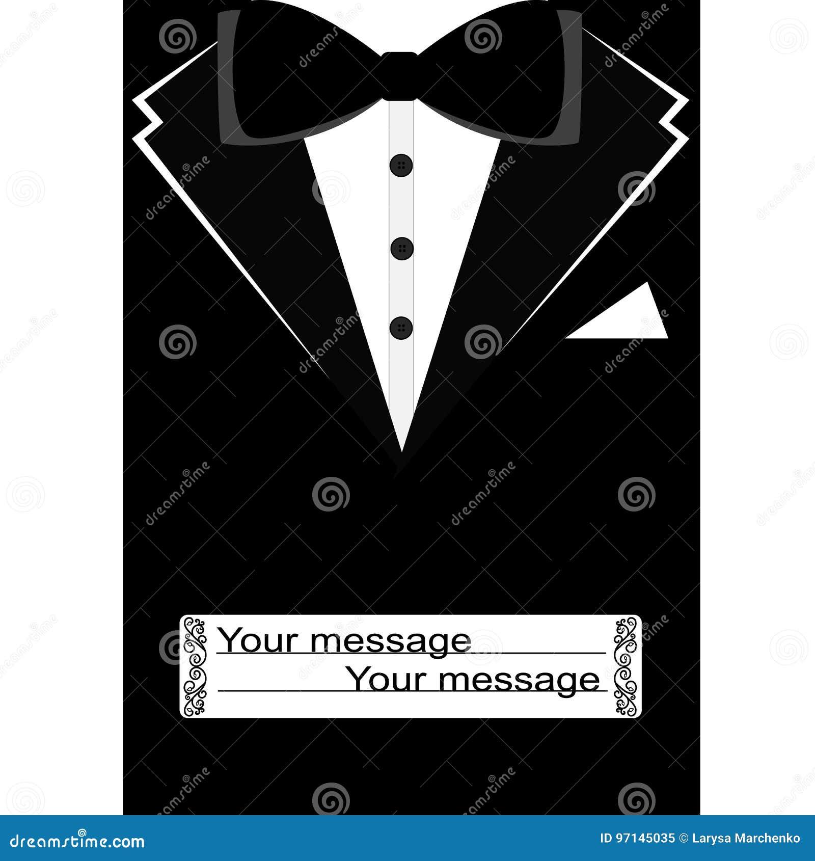 Postcard Tuxedo Black Suit With Bow Tie Stock Vector