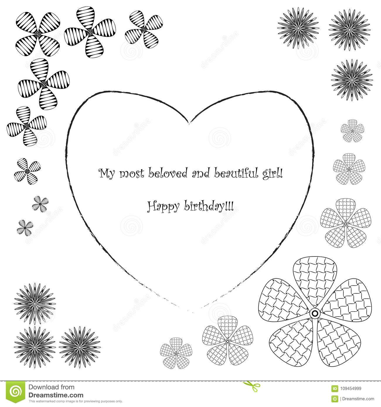 Black And White Postcard From >> Postcard In Zen Style Art Happy Birthday Black And White Postcard