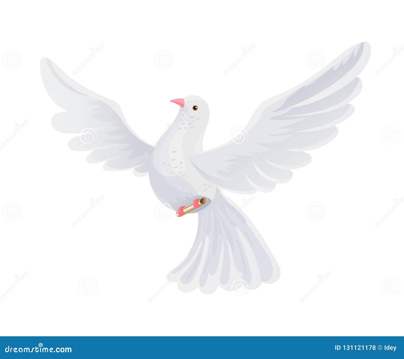 Postduif met brief in envelop De vliegende vogel draagt postcorrespondentie