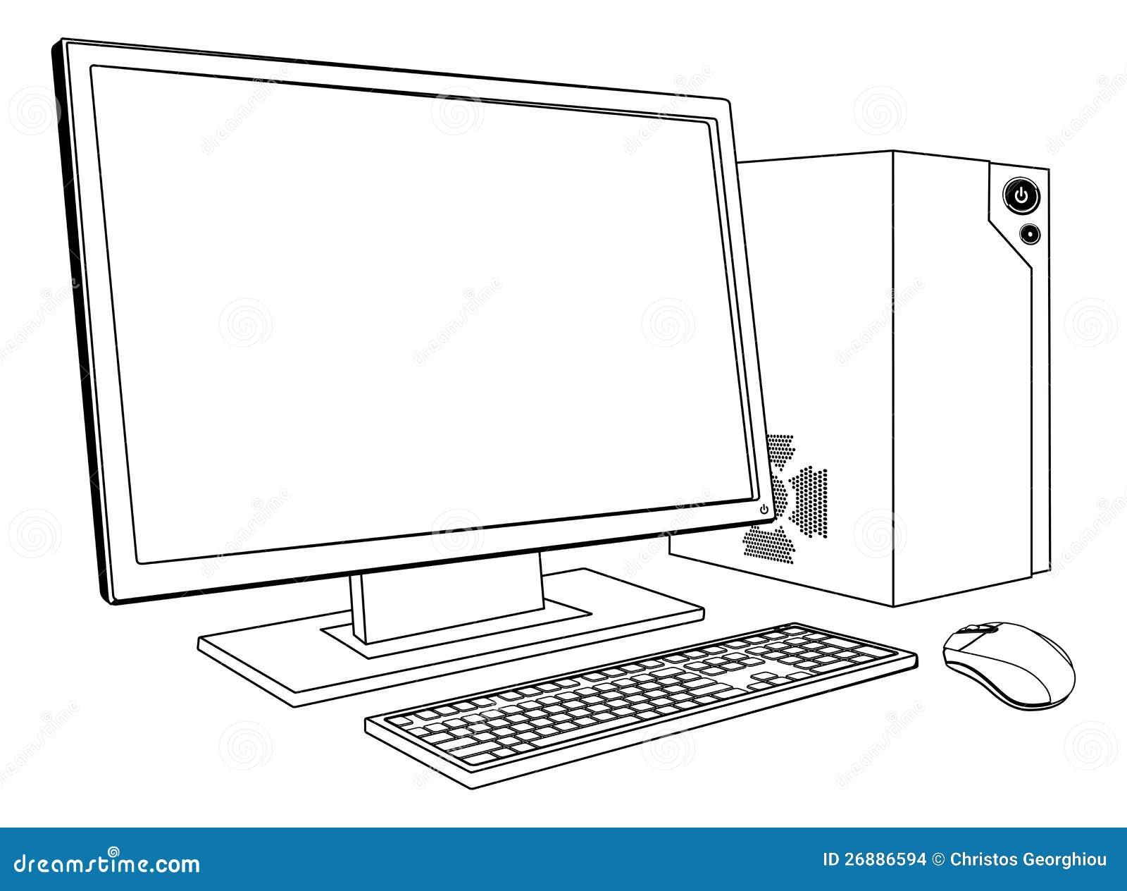 poste de travail d 39 ordinateur de pc de bureau images stock image 26886594. Black Bedroom Furniture Sets. Home Design Ideas