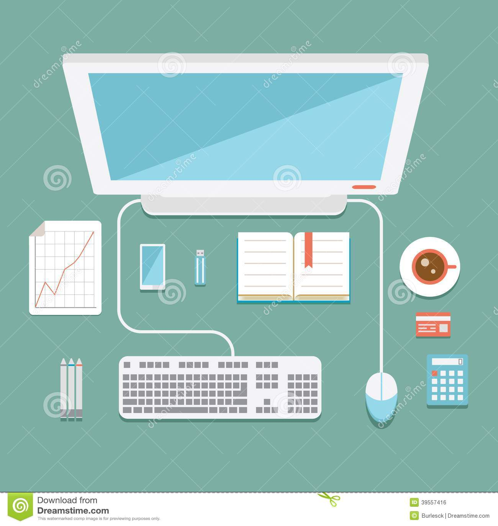 poste de travail de bureau dans le style plat illustration de vecteur illustration 39557416. Black Bedroom Furniture Sets. Home Design Ideas