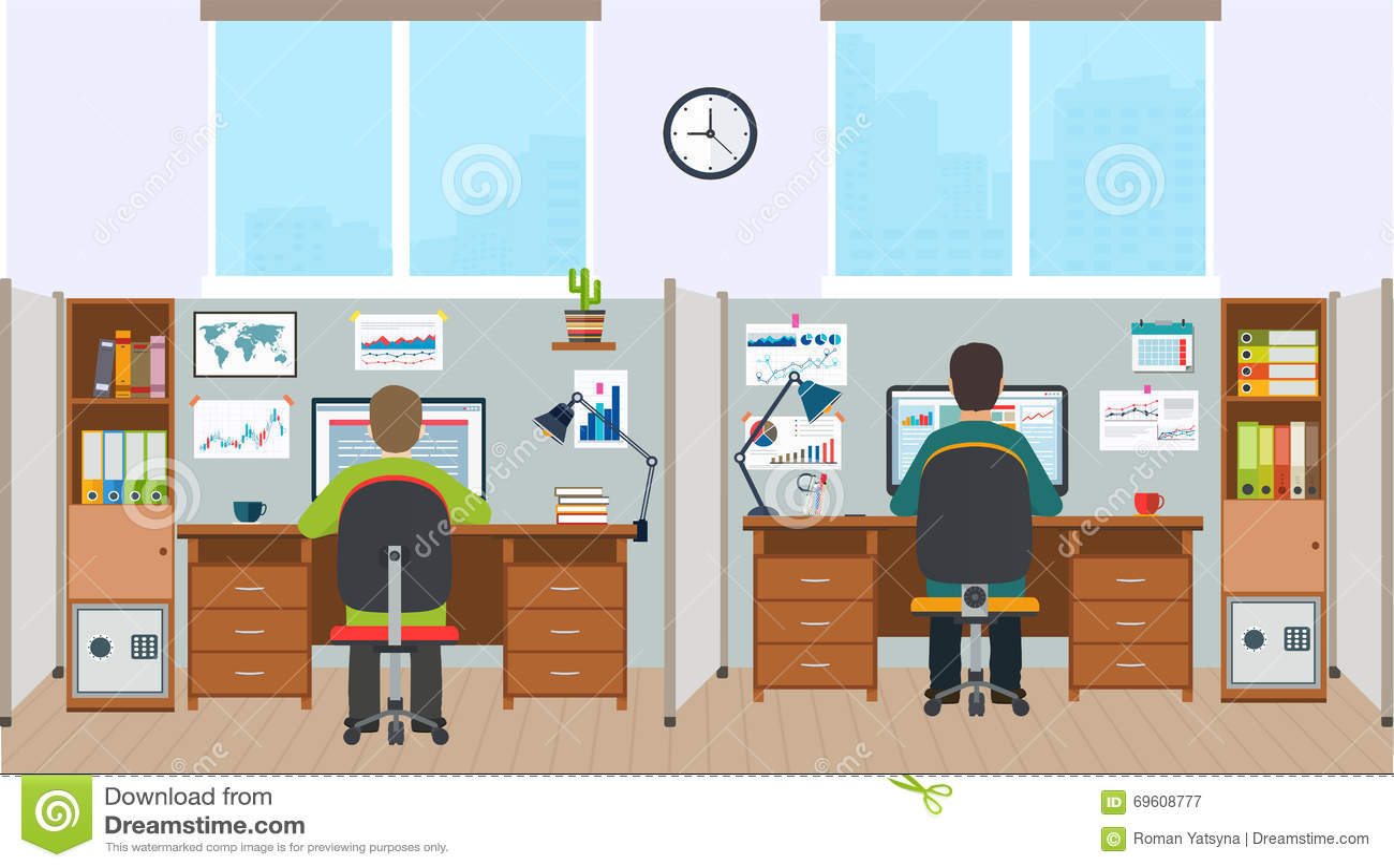 poste de travail int rieur de bureau avec des employ s bureaux avec t illustration de vecteur. Black Bedroom Furniture Sets. Home Design Ideas