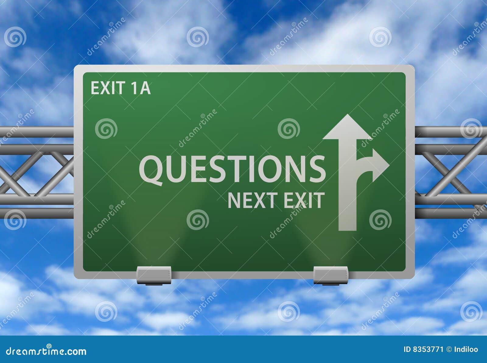 Poste indicador de la carretera de las preguntas