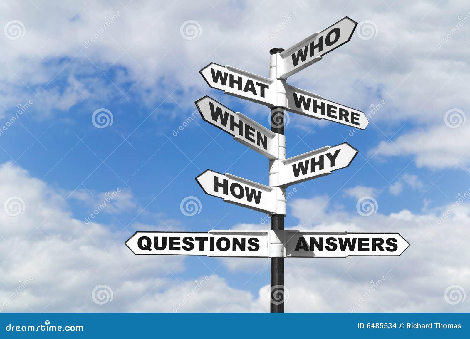 Poste indicador de las preguntas y de las respuestas