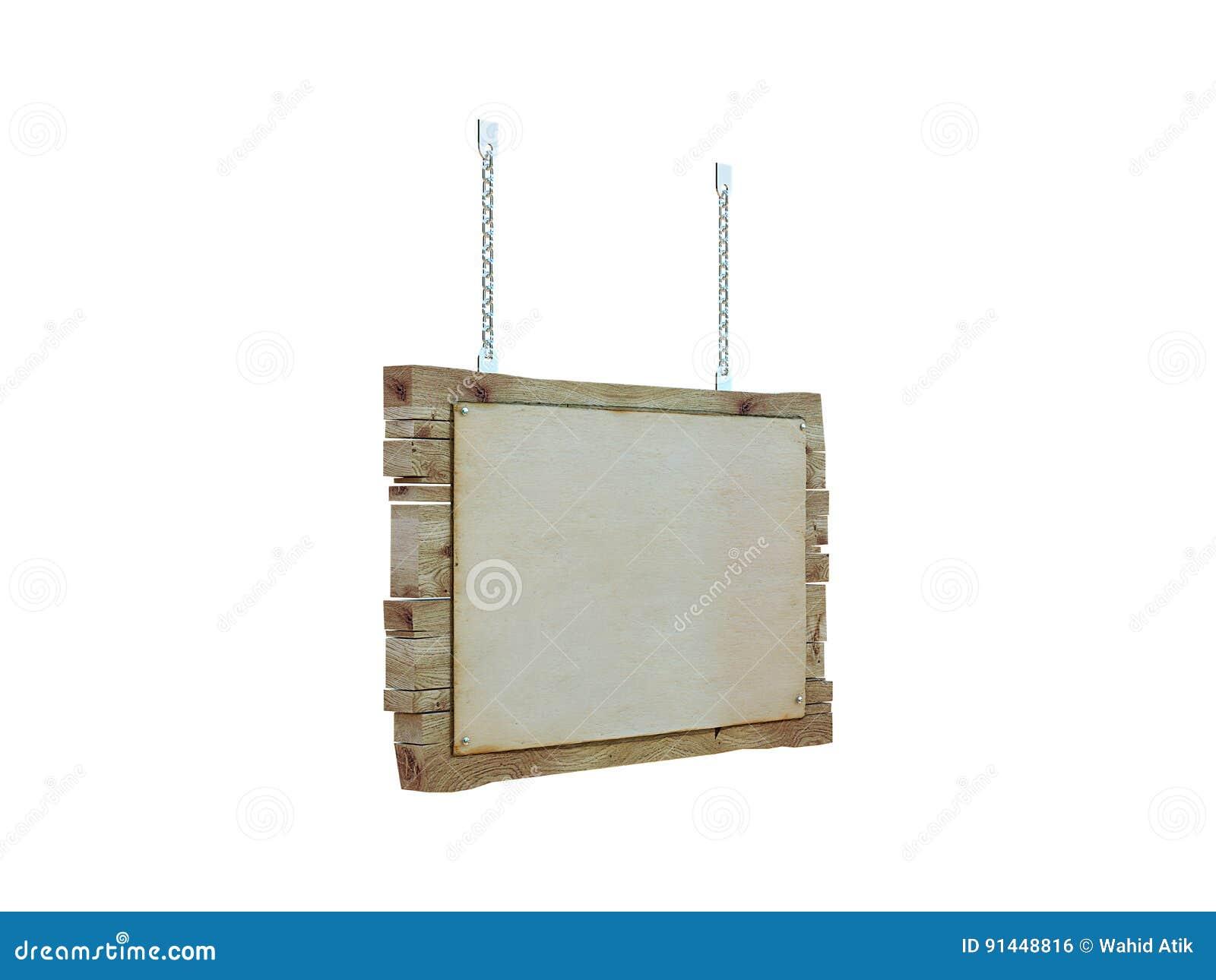 Poste indicador de madera en blanco aislado