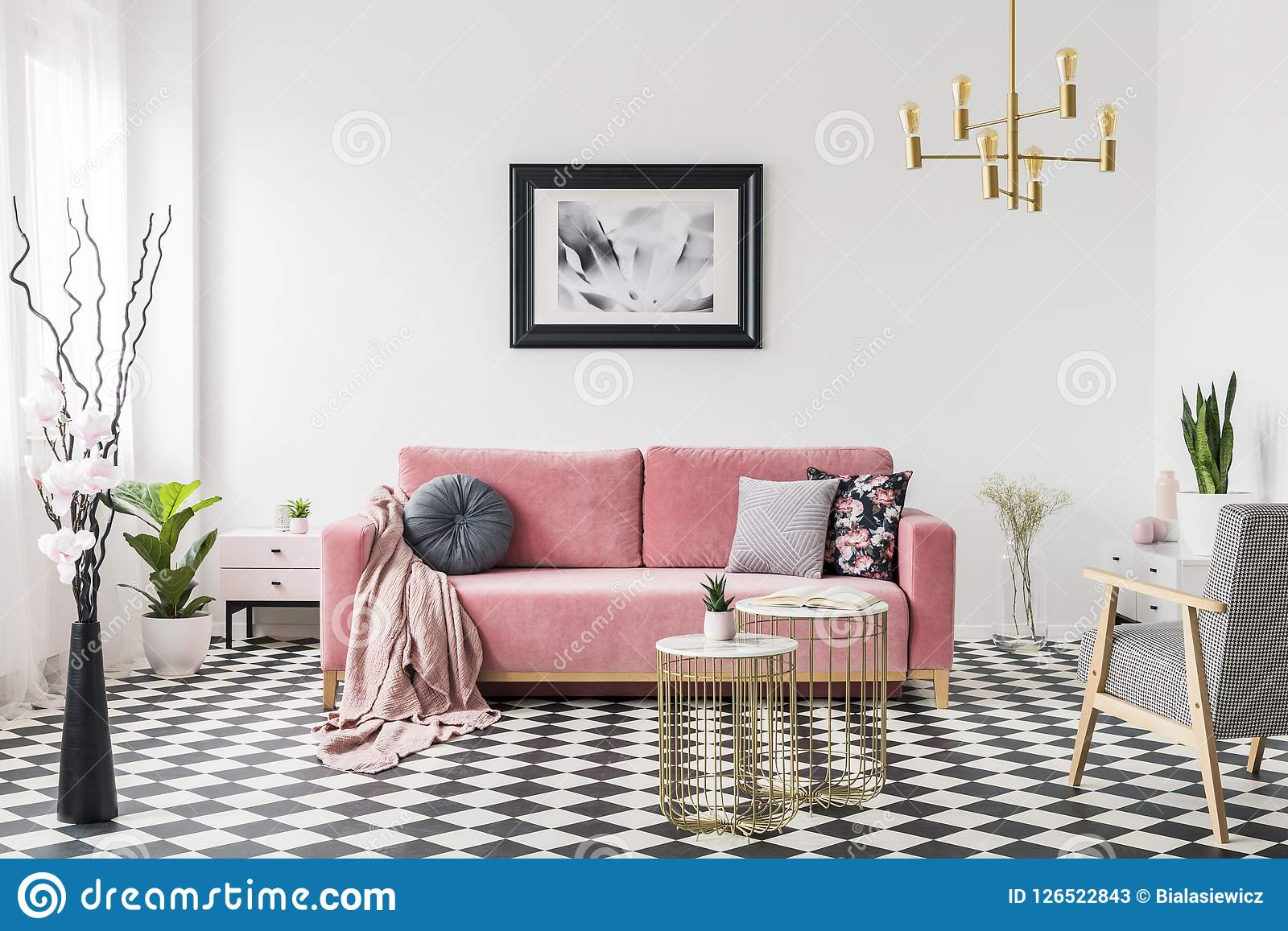 Excellent Poster Above Pink Sofa In Spacious Living Room Interior With Pdpeps Interior Chair Design Pdpepsorg