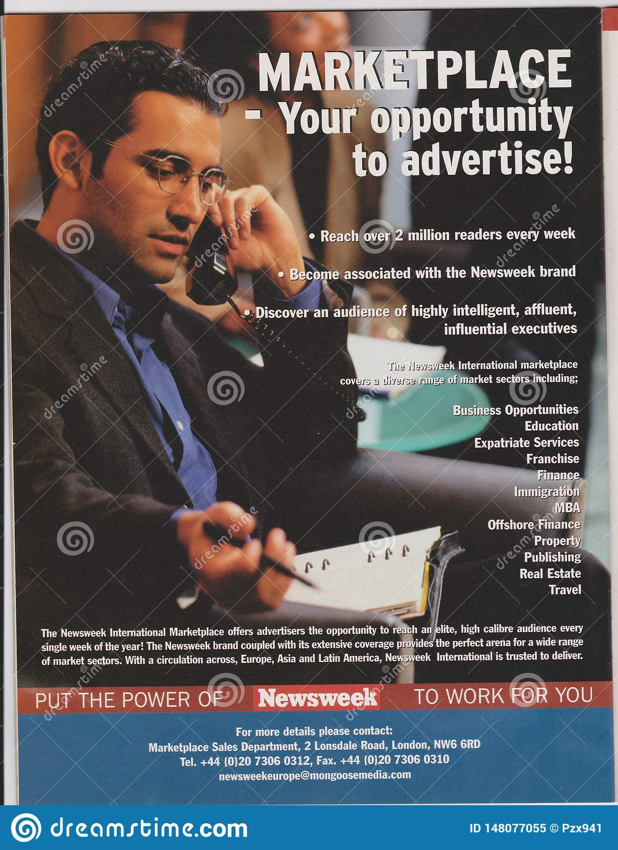 Poster advertising of Newsweek Marketplace in magazine from October 2005, your opportunity to advertise! slogan