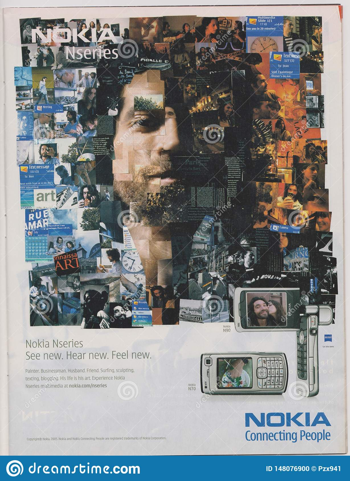 Poster advertising Nokia Nseries N70 phone in magazine from 2005, NOKIA Connecting People slogan,  See, Hear, Feel New, slogan