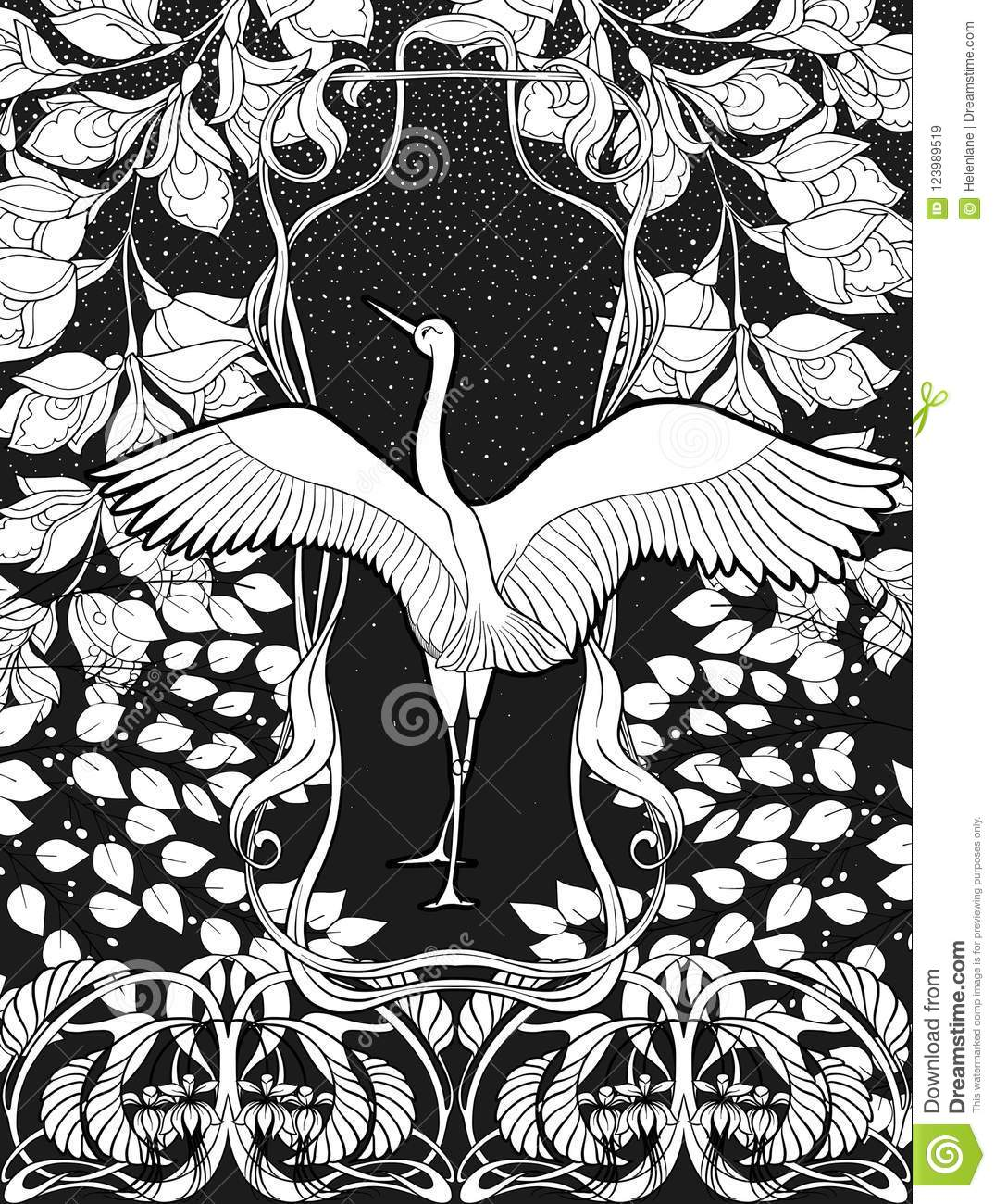 Poster background with decorative flowers and bird in art nouveau style black and white graphics nvector illustration