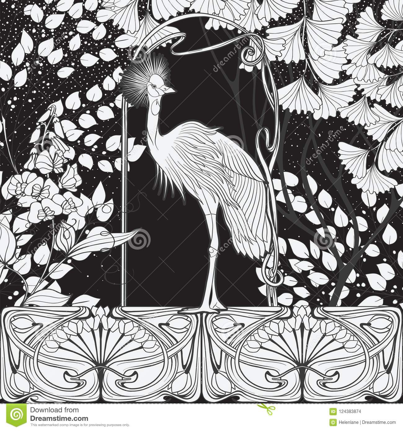 Poster Background With Decorative Flowers And Bird In Art Nouveau