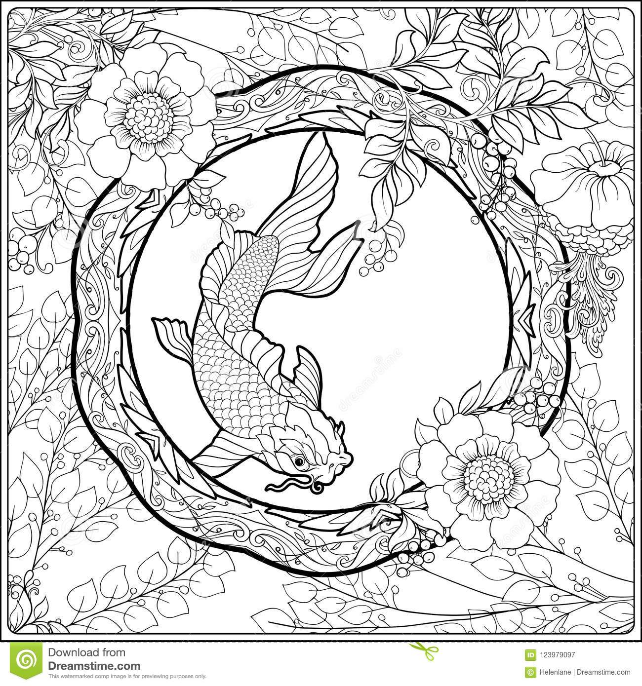 Poster With Decorative Flowers And Carp Fish In Art Nouveau Style Page For The Adult Coloring Book Stock Vector Illustration Of Page Design 123979097