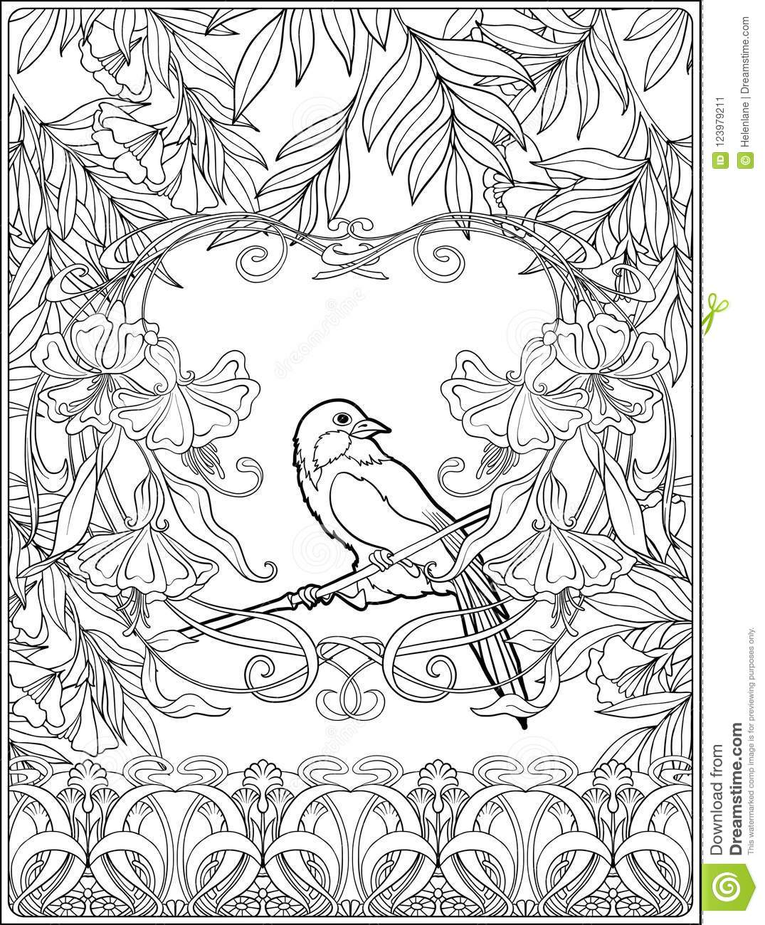 Poster, background with decorative flowers and carp fish in art nouveau  style, vintage, old, retro style. Outline coloring page for the adult  coloring book.