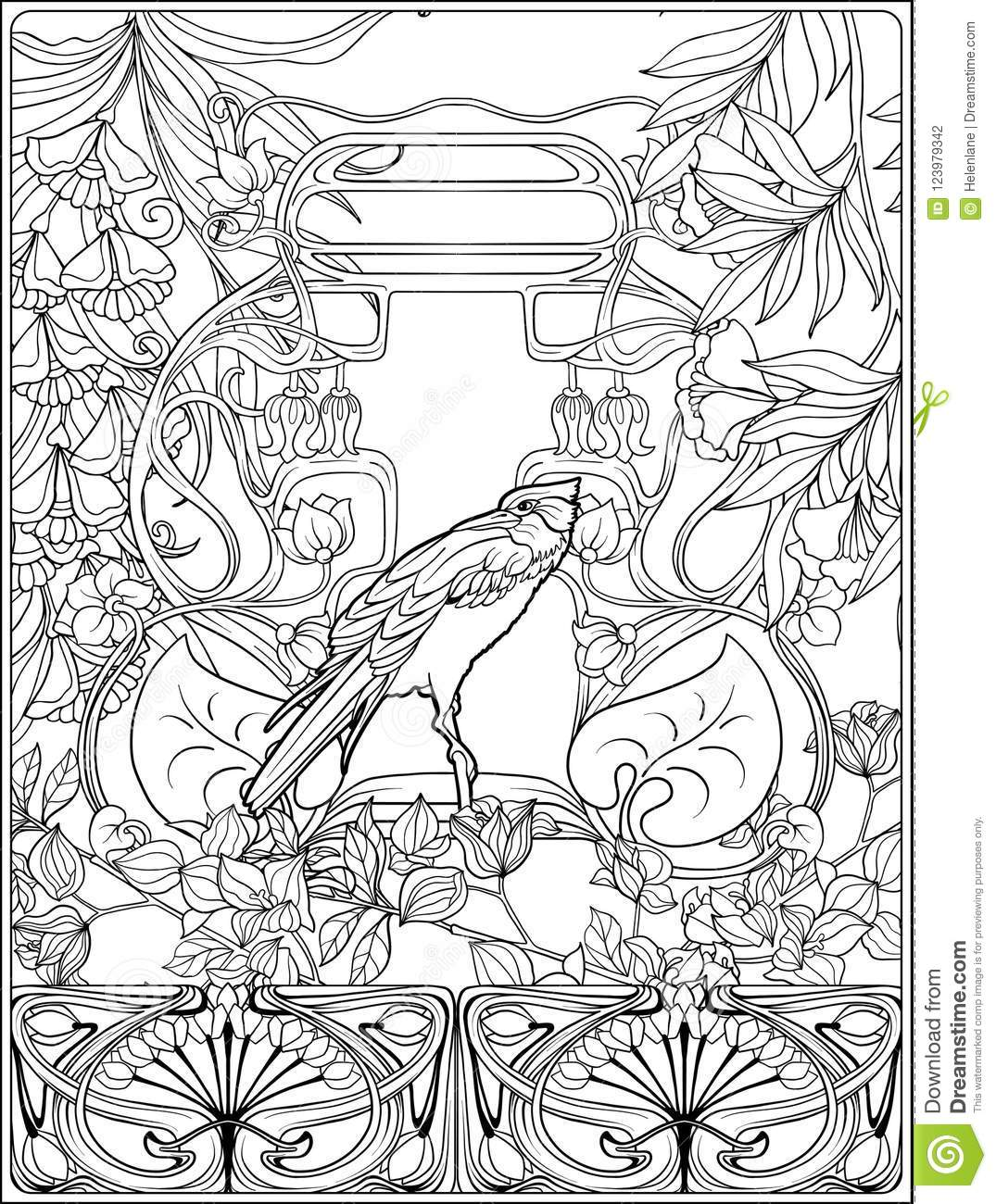 - Poster With Decorative Flowers And Carp Fish In Art Nouveau Style
