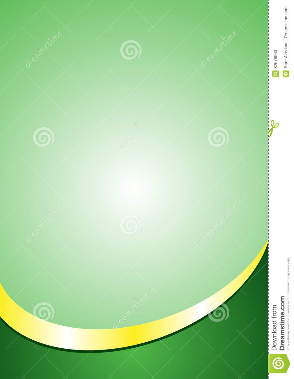 a4 poster background template green and gold color footer stock