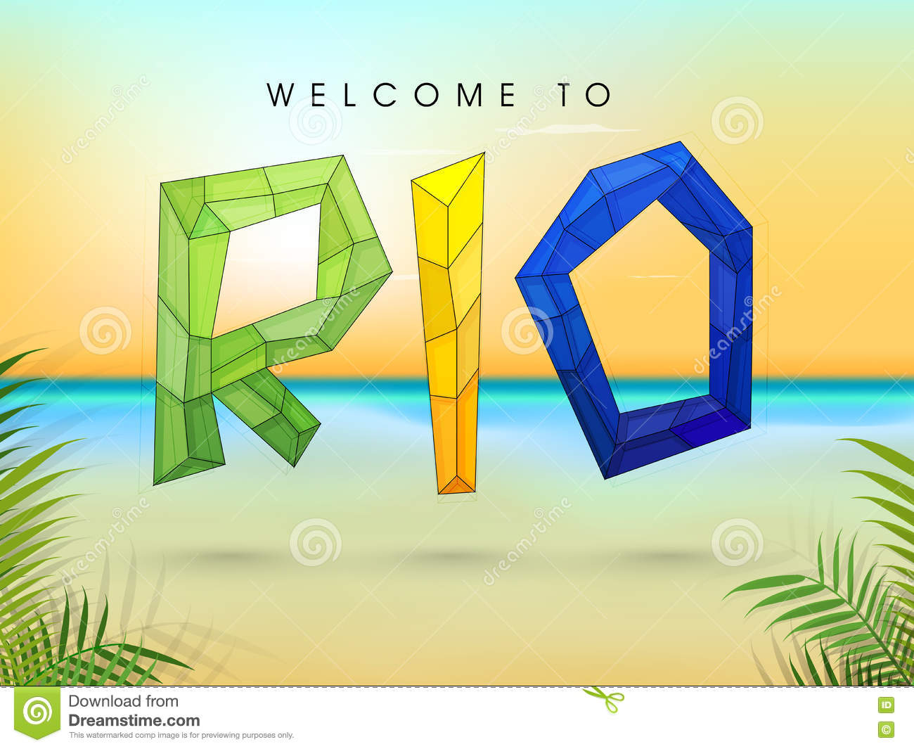 Poster, Banner with Stylish Polygonal Text Rio.