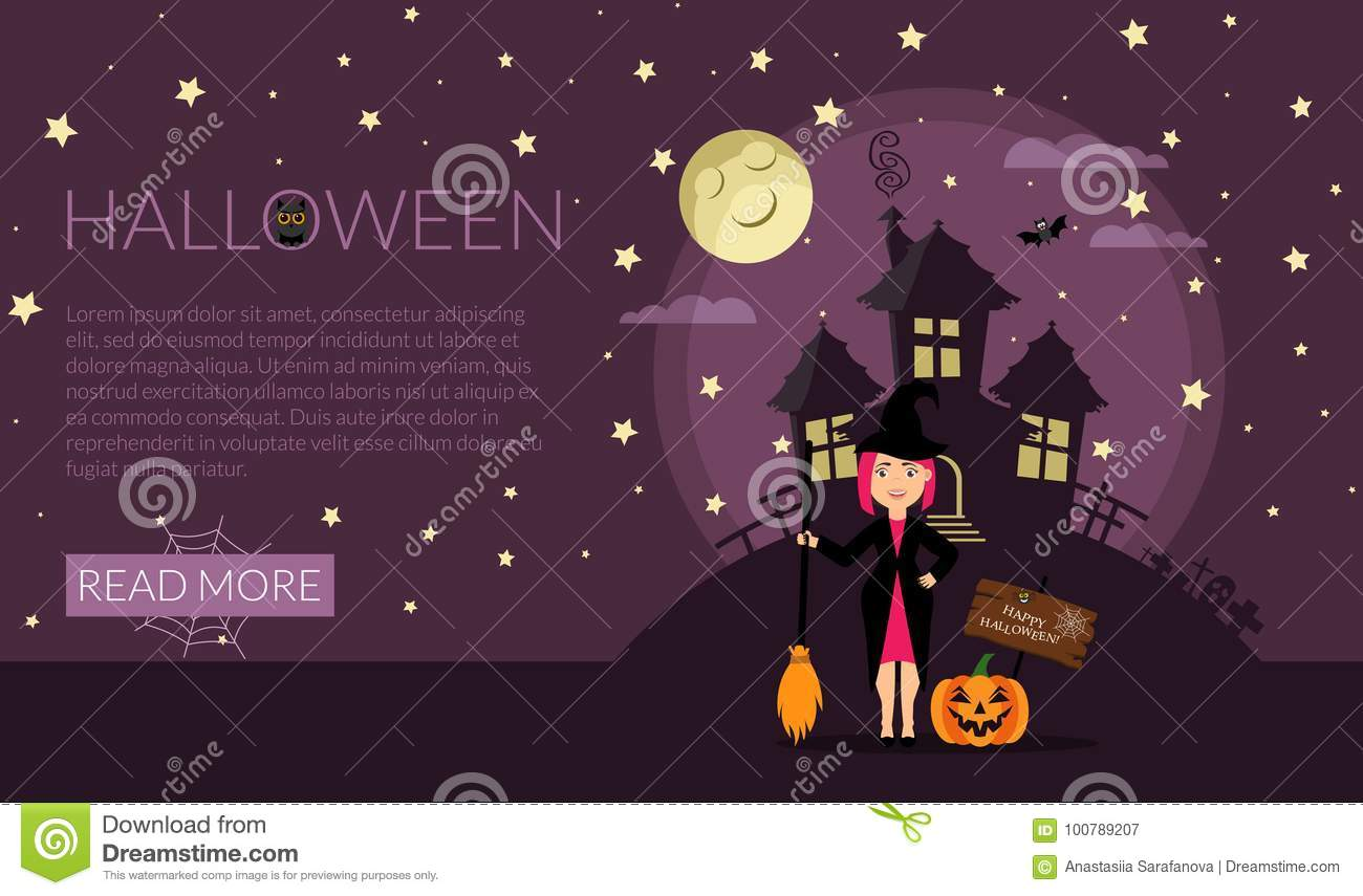 Poster Or Banner Template For Web Site Halloween Party Invitation