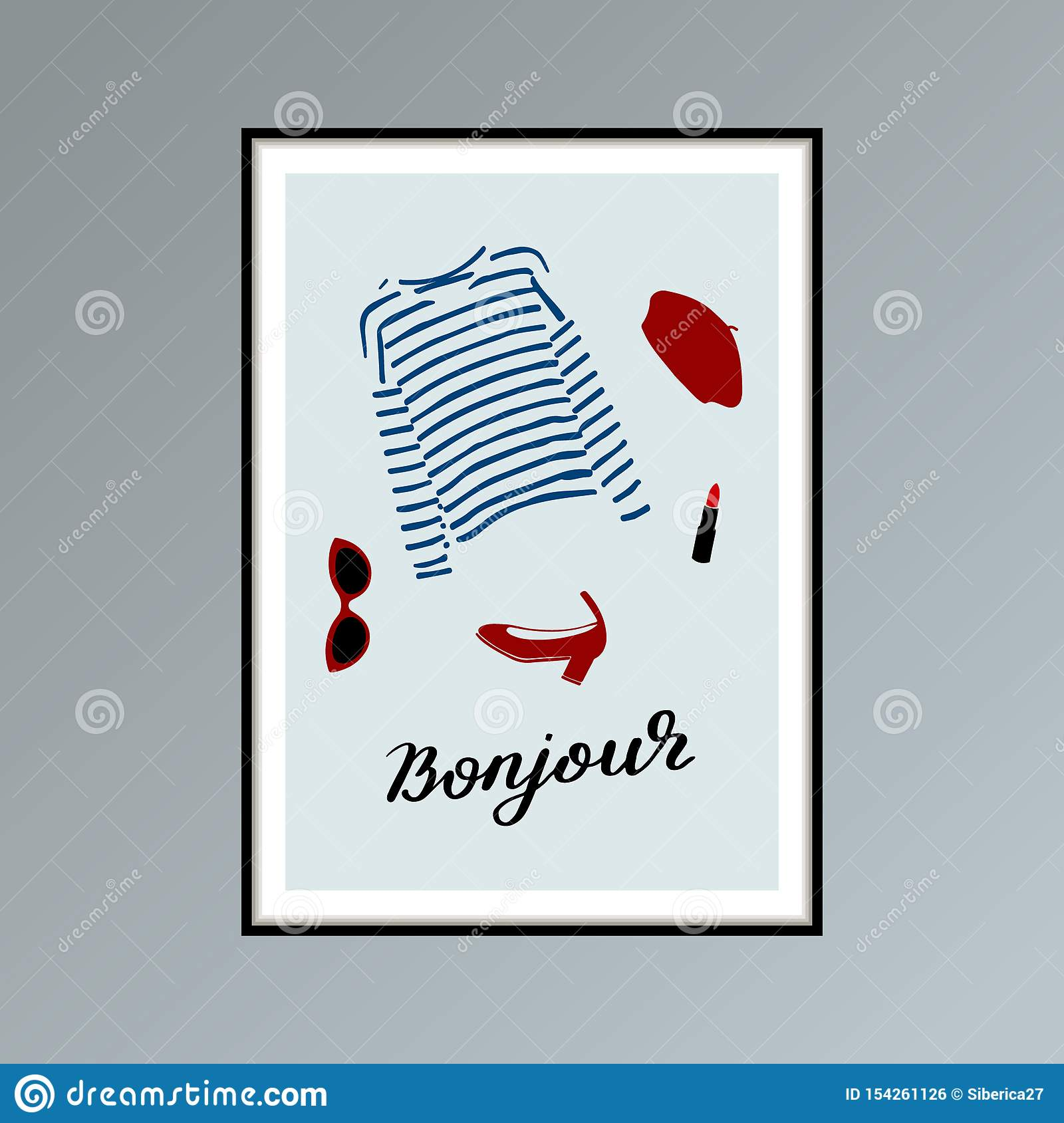 Poster With Beret Striped Longlsleeve Shirt Lipstick Shoe And Hand Lettered Word Bonjour Good Day In French Stock Vector Illustration Of Longsleeve Mariniere 154261126