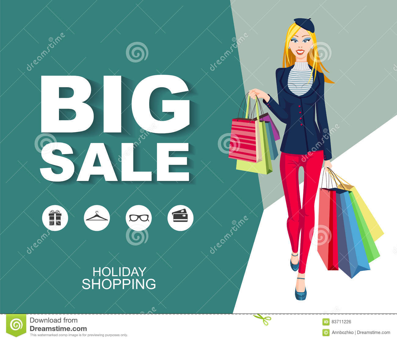 Poster Big Sale With Icons. Shopping Wonan Model. Stock Vector