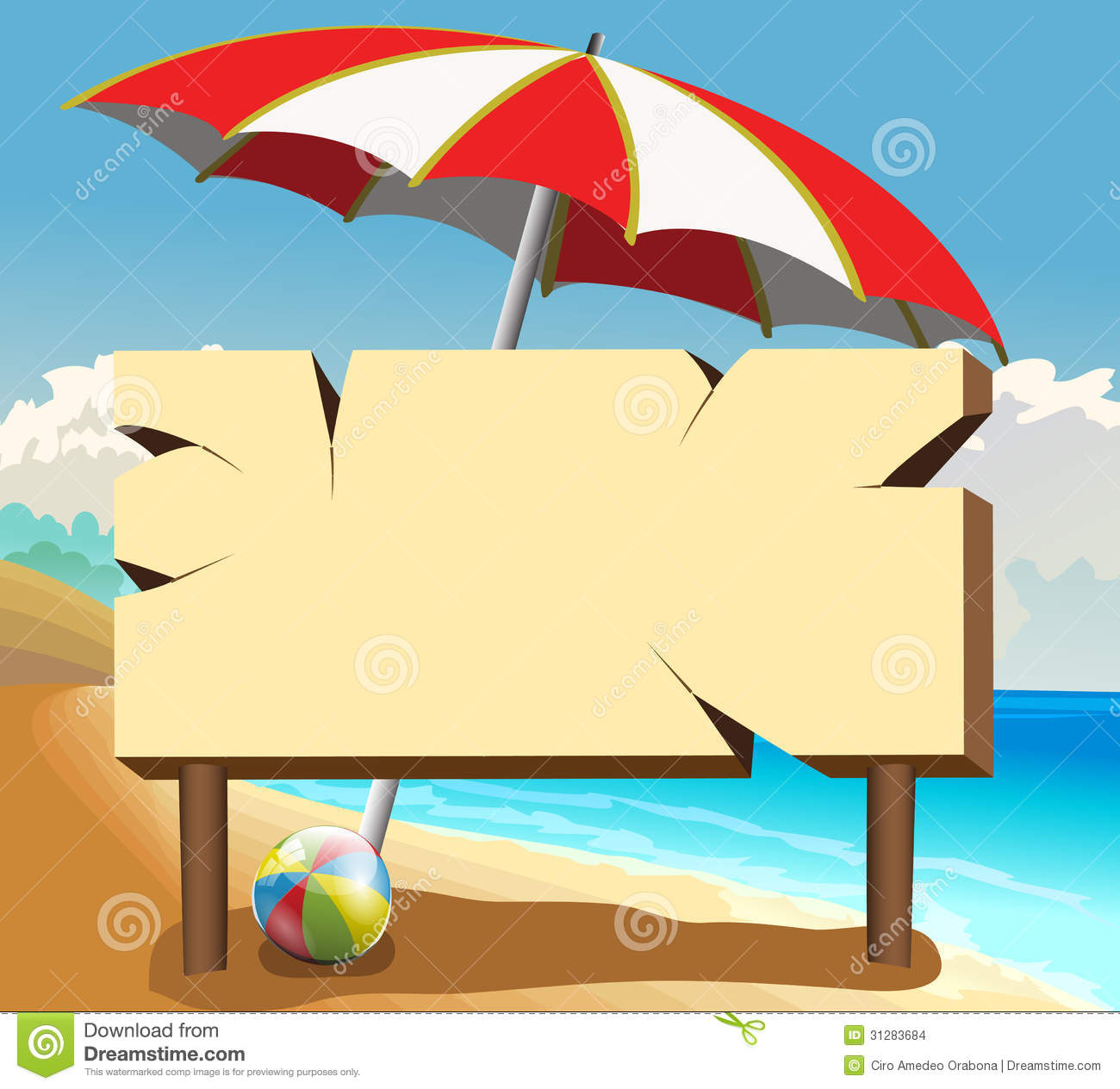 poster board on the beach stock vector image of poster