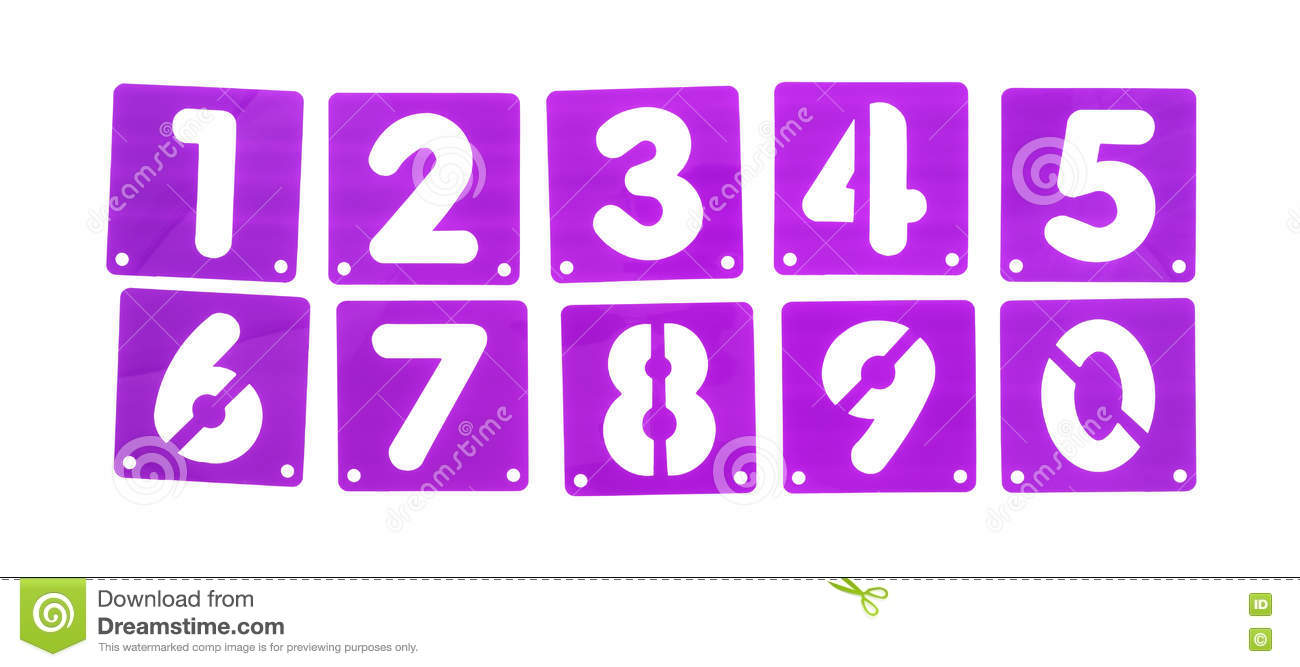 Poster Board Stencil Templates Numbers In A Row Stock Photo Image
