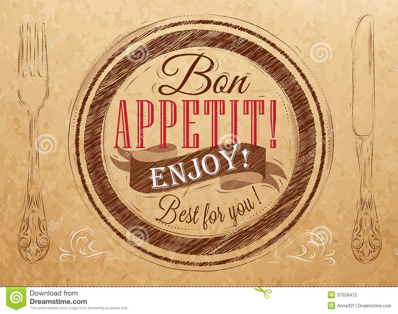 poster bon appetit  kraft paper  stock photography