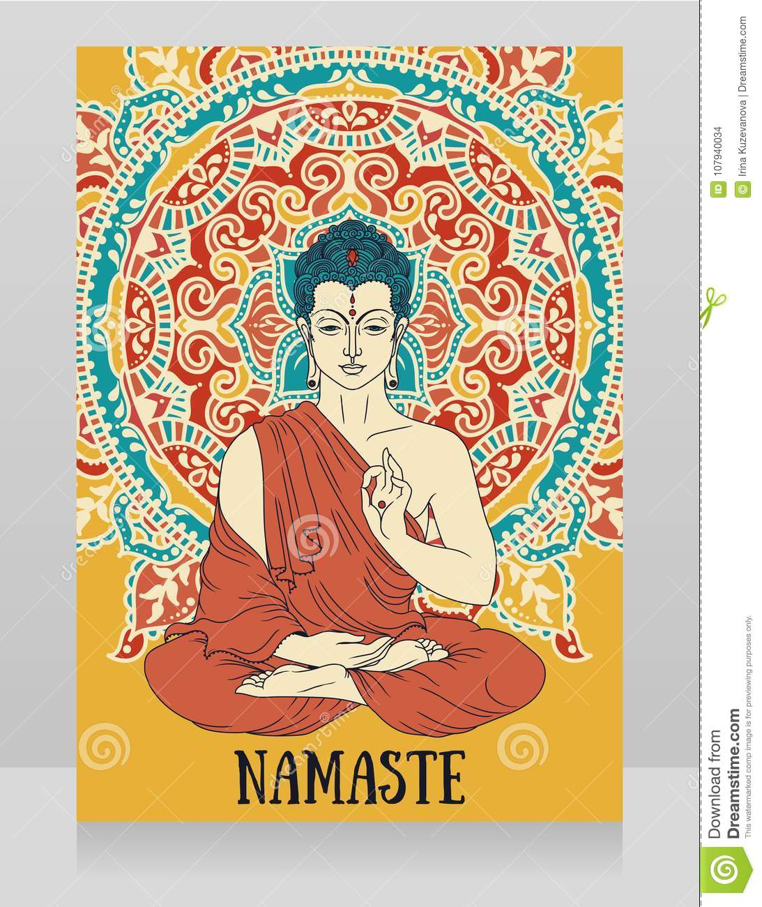 Poster with buddha in meditation on beautiful mandala ornament stock poster with buddha in meditation on beautiful mandala ornament can be used as greeting card for buddha birthday or as card for yoga studio m4hsunfo
