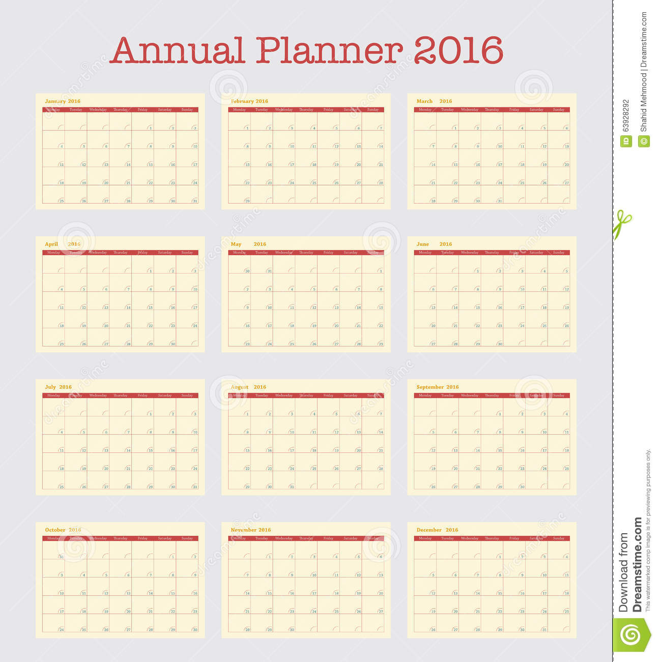 Calendar Poster Template : Poster calendar for annual planner year