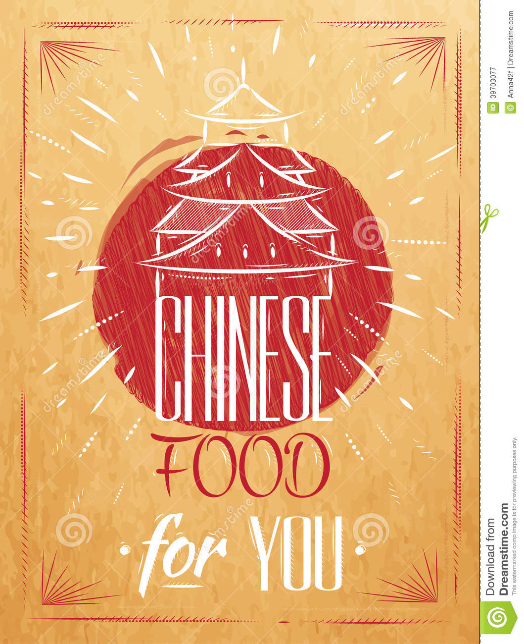 Poster Chinese Food House Kraft Stock Vector