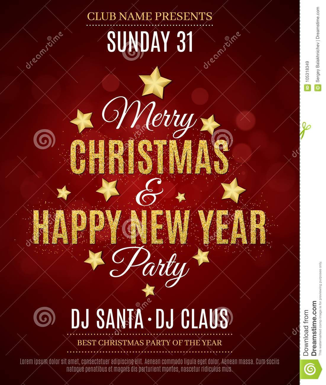 poster for the christmas and new year party invitation card red background the