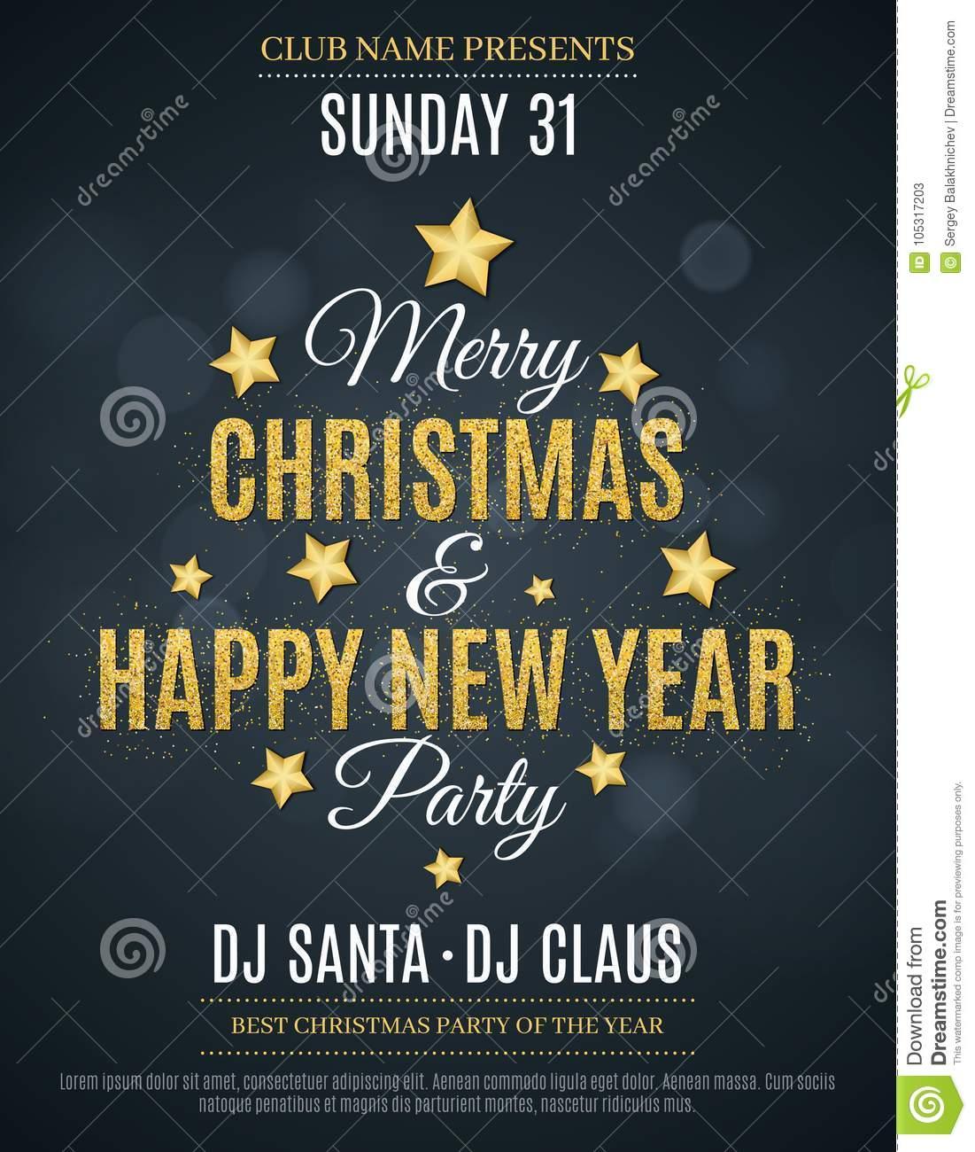 poster for the christmas and new year party invitation card the text is made