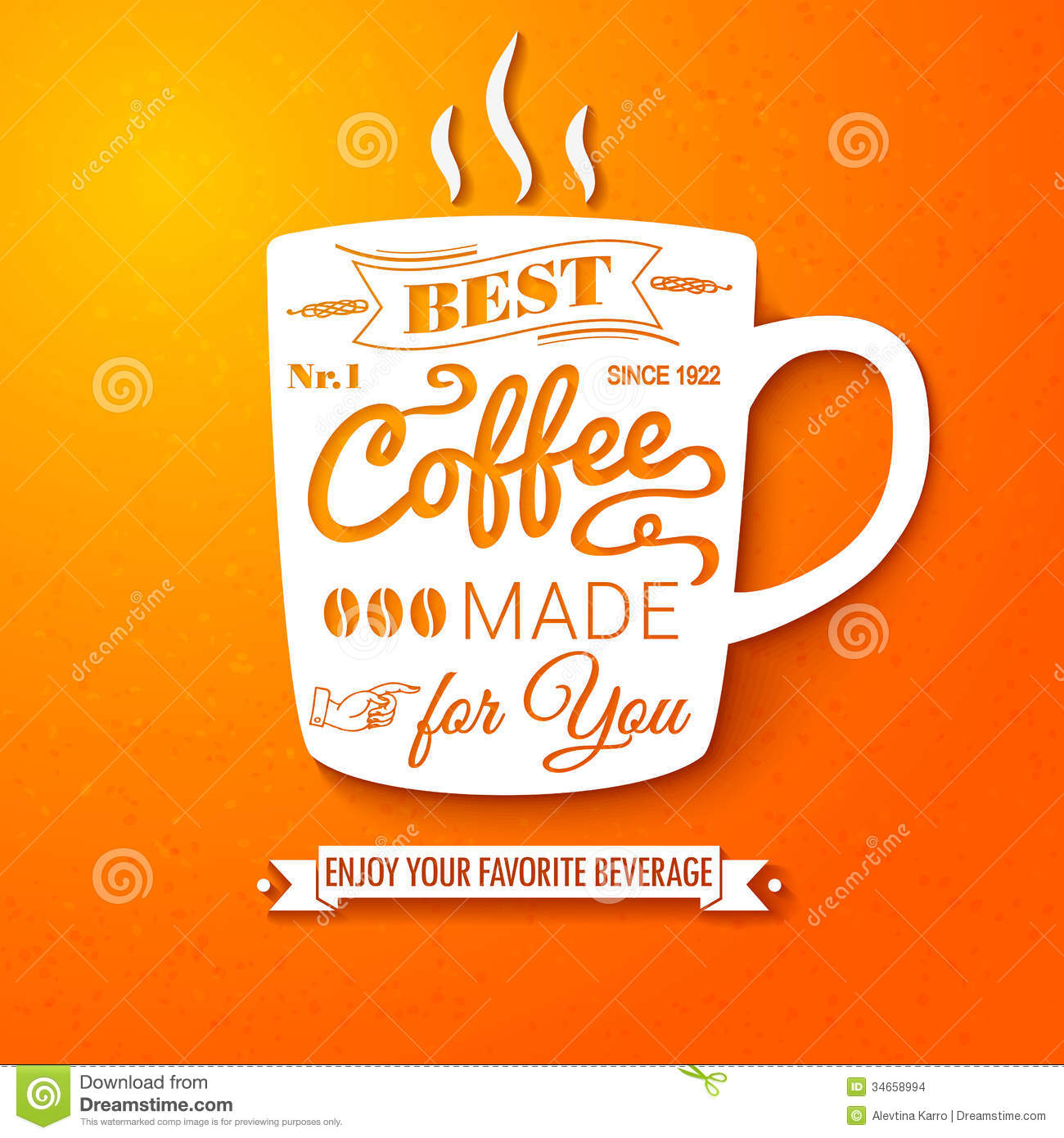 Poster With Coffee Cup On A Bright Cheerful Backgr Stock