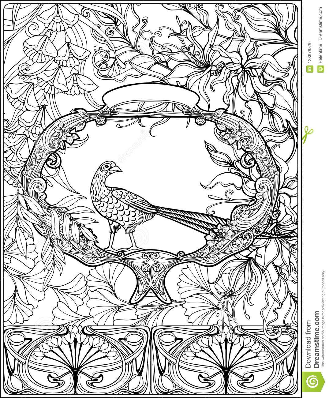 Poster With Decorative Flowers And Carp Fish In Art Nouveau ...