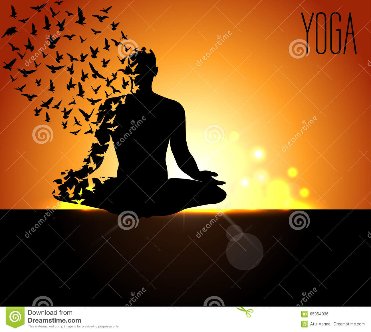 Download Poster Design For Celebrating International Yoga Day Pose With Birds Flying And Early