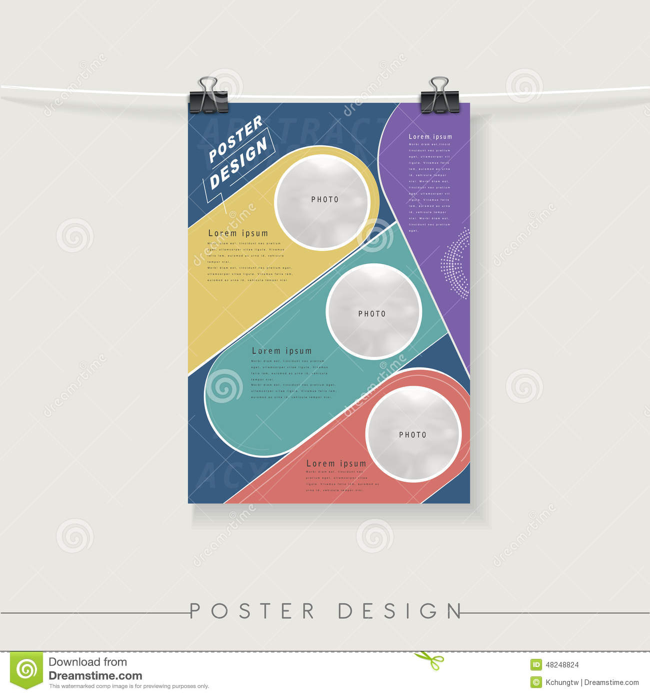 Poster design template with colorful stripes circle line.