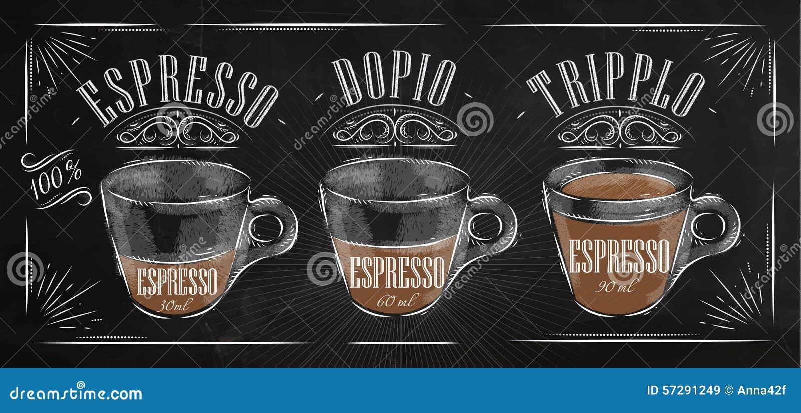 Poster Espresso Chalk Stock Vector - Image: 57291249