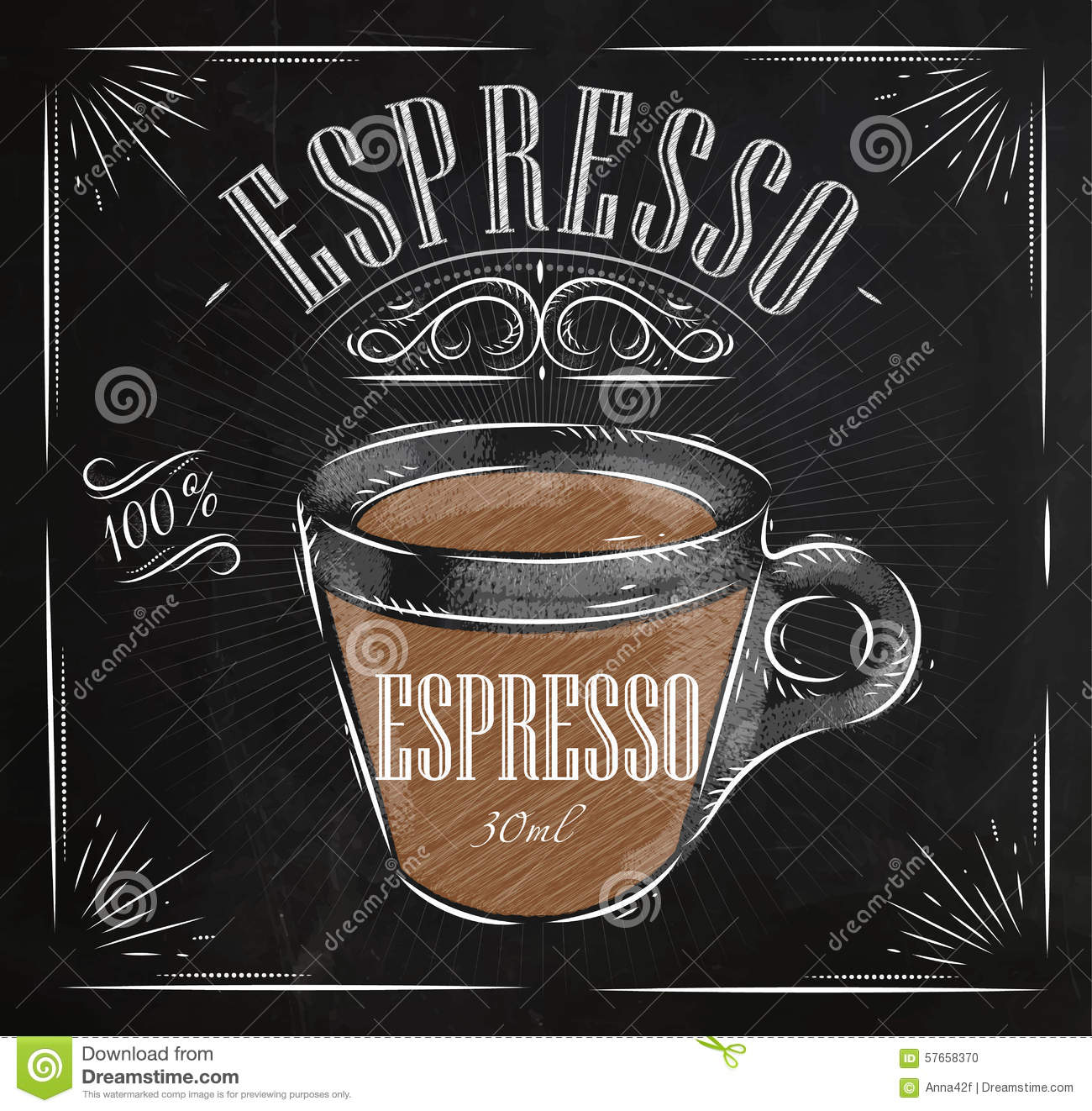 Poster Espresso Chalk Stock Vector Image Of Glass Cafe