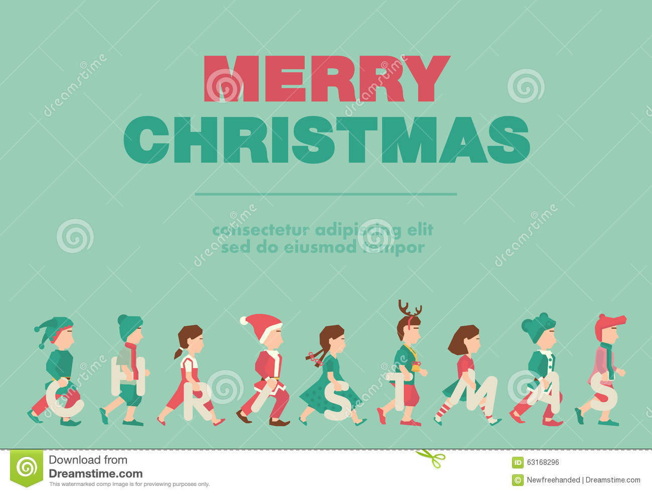 Poster, Flat Banner Or Background For Kid\'s Merry Christmas Party ...