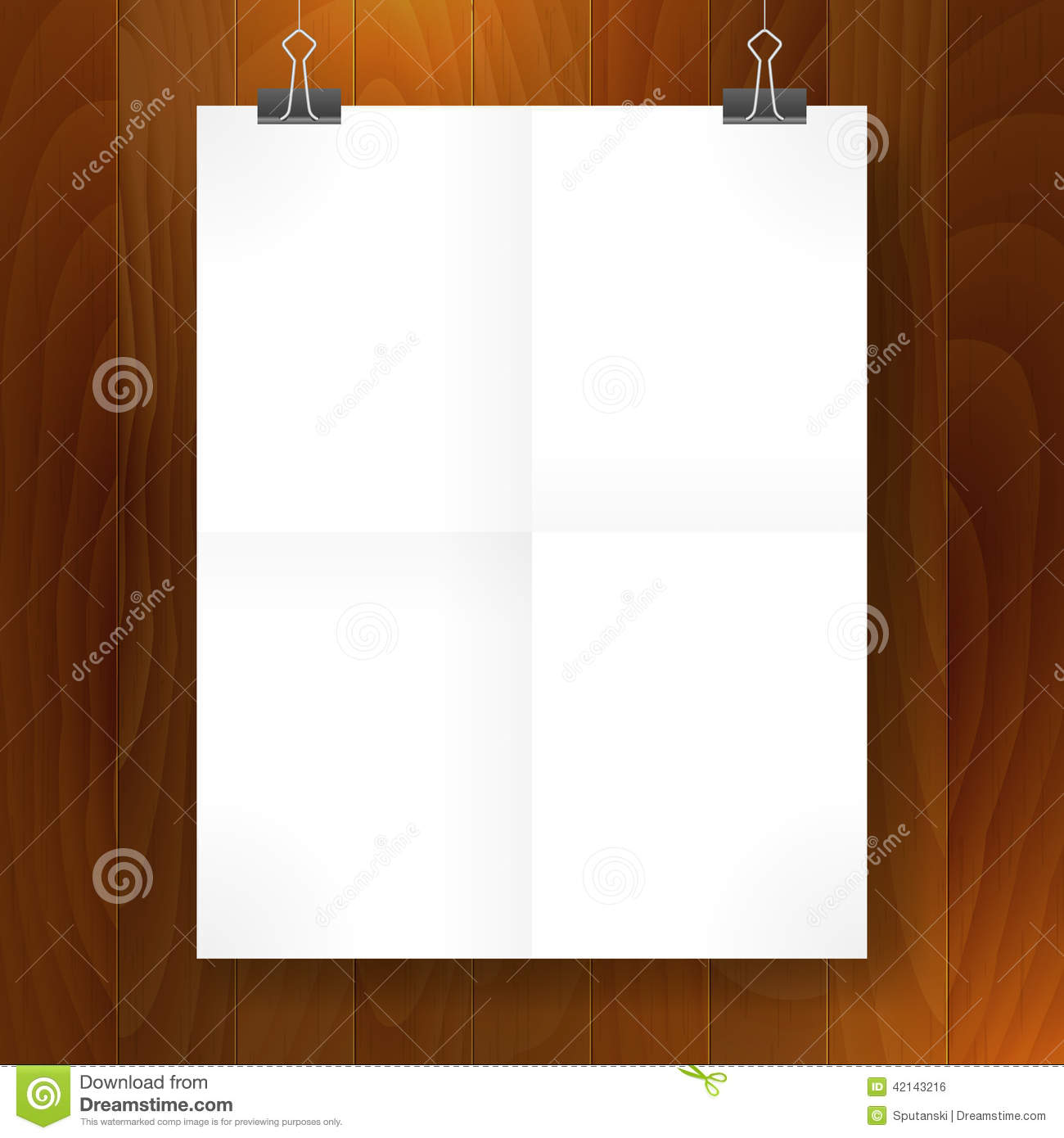 Poster Fold Blank Paper Template Stock Vector - Image: 42143216