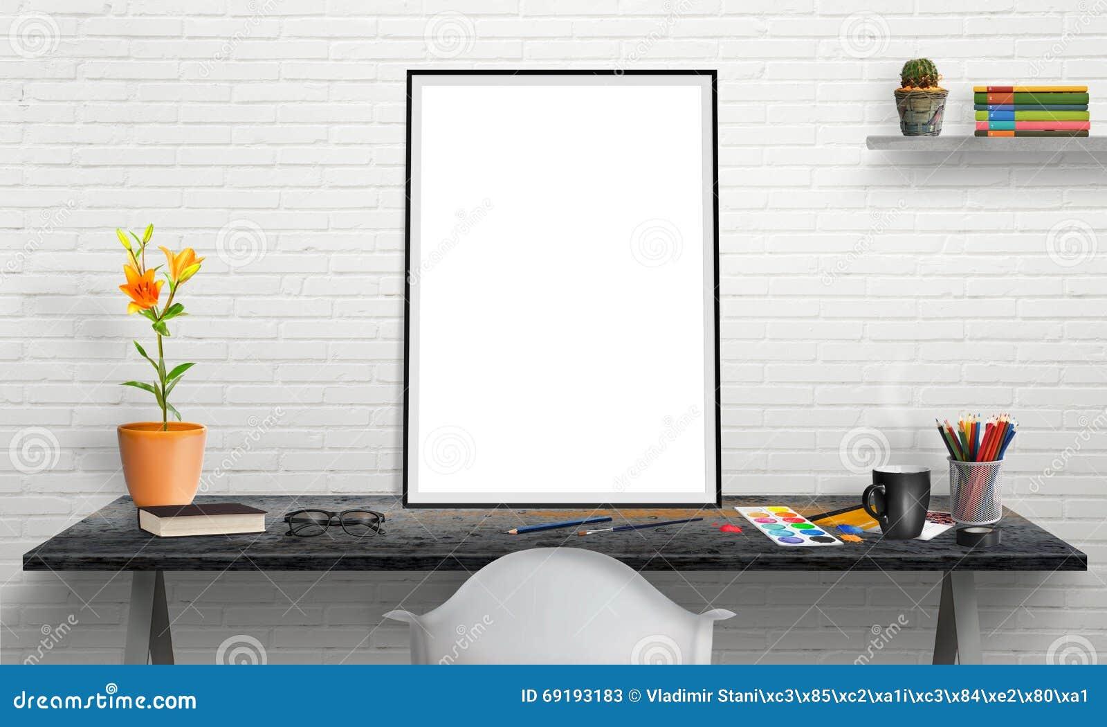 Poster Frame And Laptop On Office Desk For Mockup. Stock ...