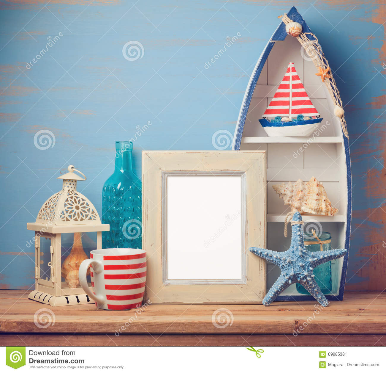 Summer Home Decor poster frame mock up template with summer home decor stock photo