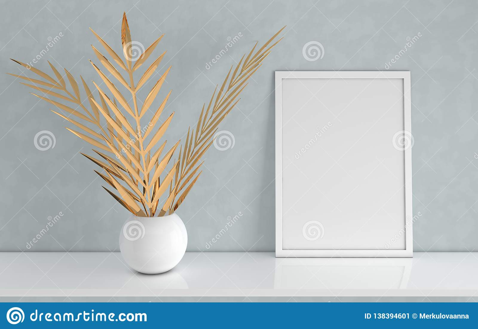Poster frame mockup with gold palm leaves in the vase on grey background. Front view photo frame on white book shelf or desk.