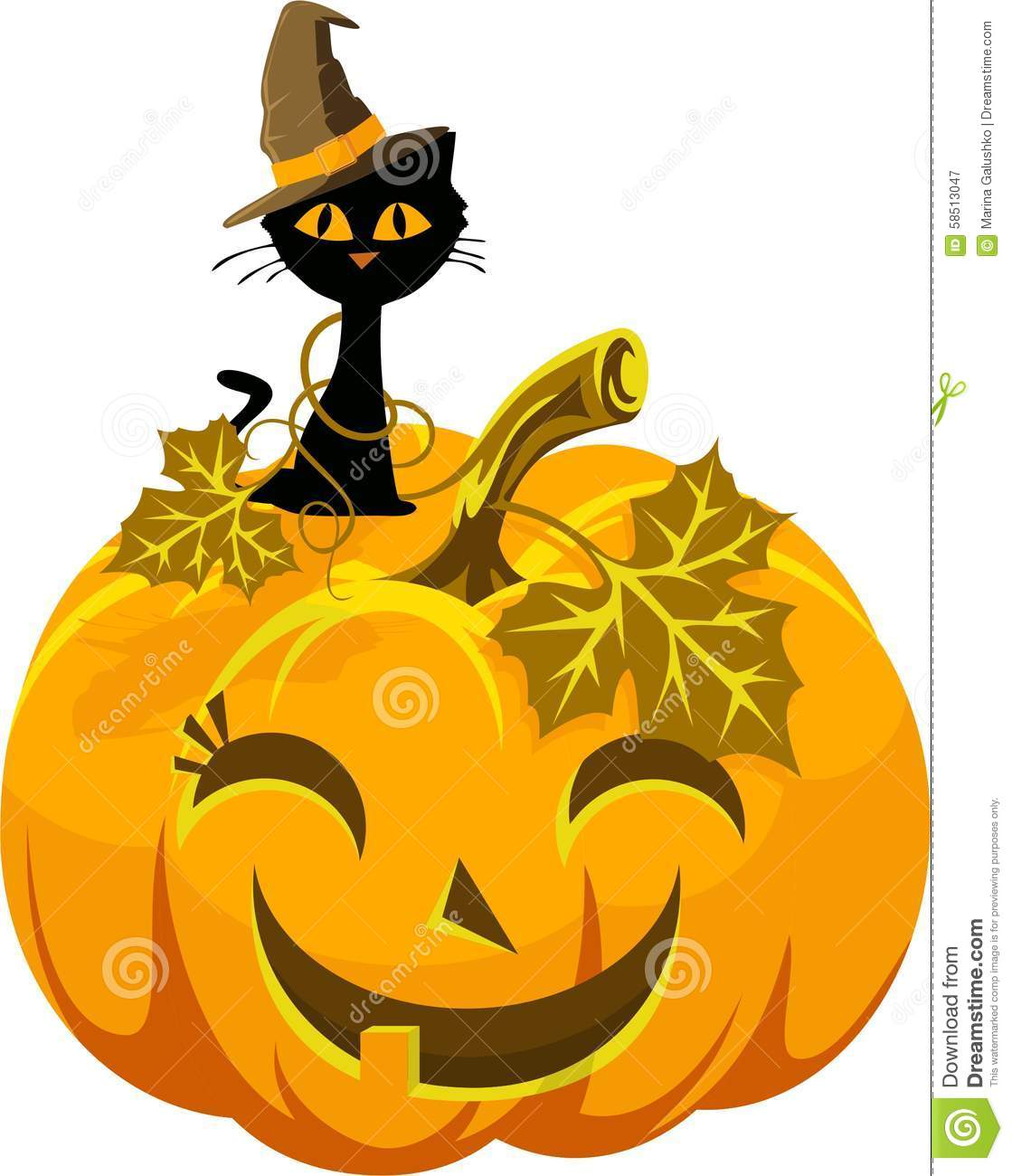Poster funny pumpkin and cat in the hat halloween stock for Funny pumpkin drawings