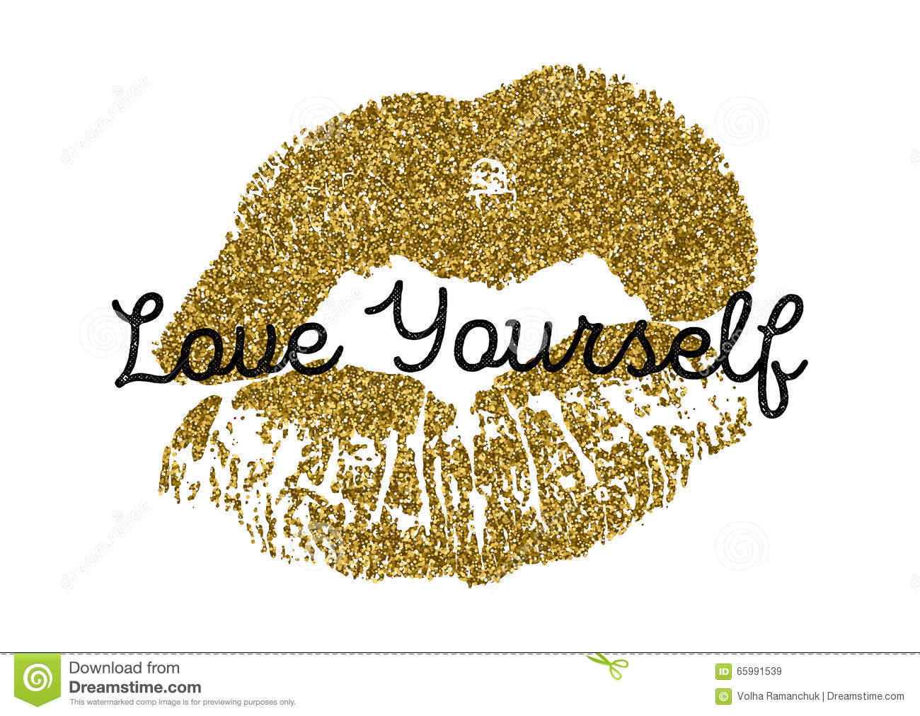 Poster With Gold Glitter Lips Prints On White Background. Stock Vector ...