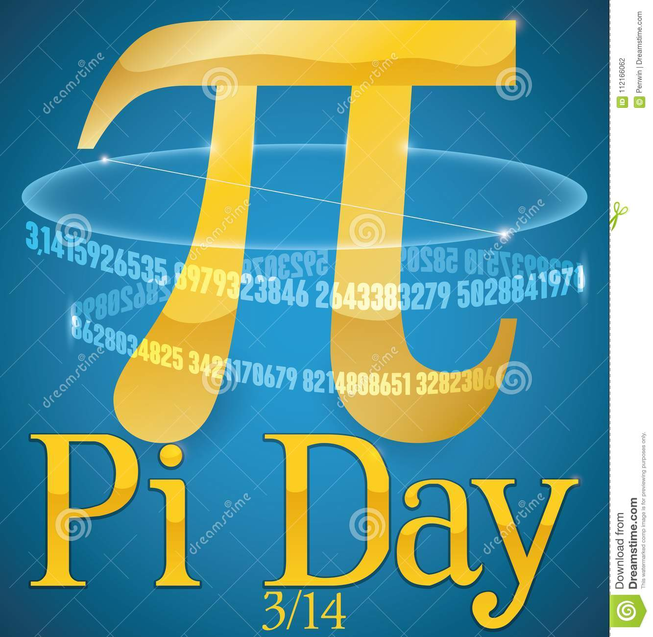 Golden Pi Symbol With Its Numeric Series For Pi Day Vector