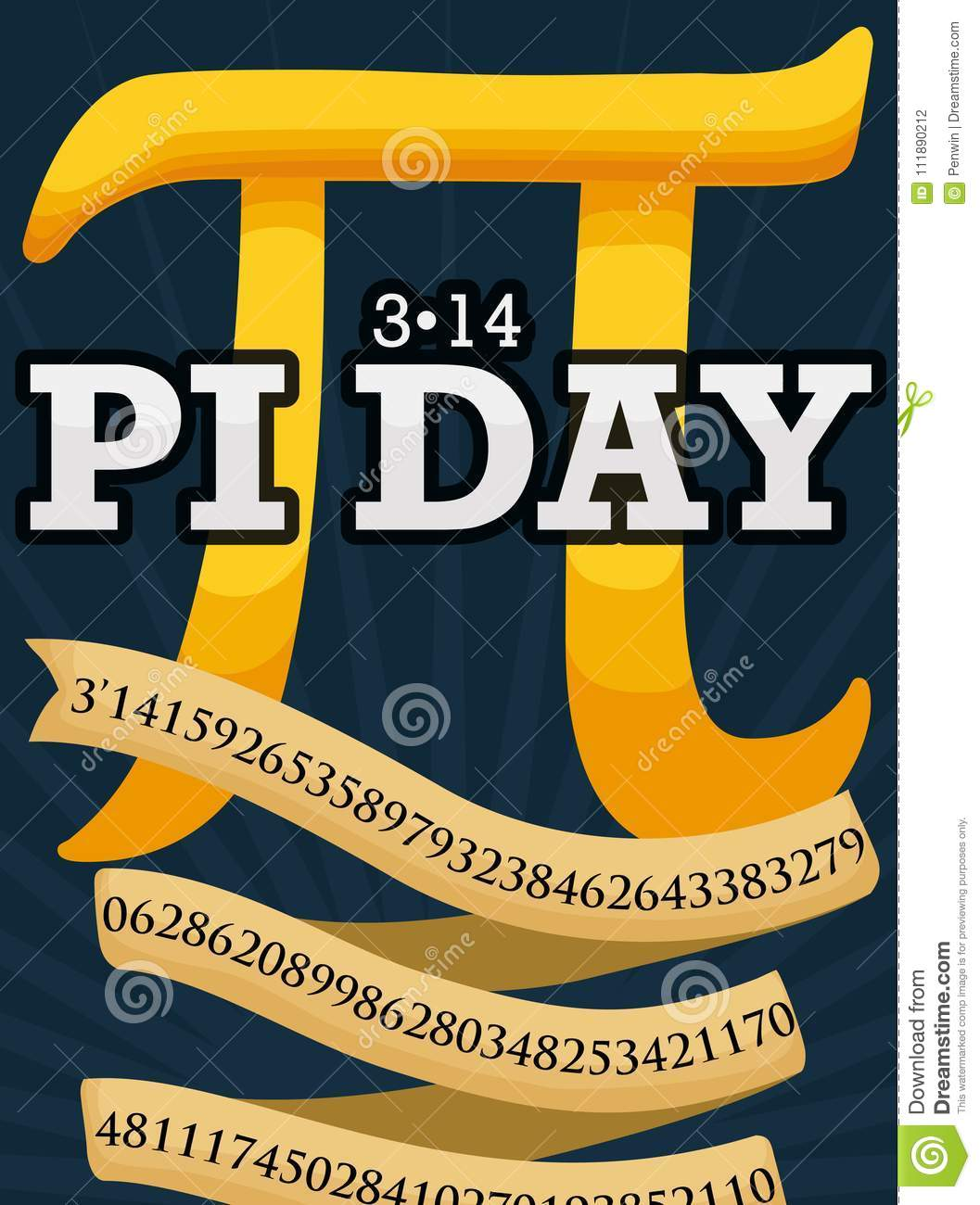 Golden Pi Symbol And Ribbon To Celebrate Pi Day Vector Illustration